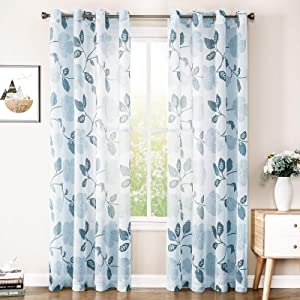 MRTREES Linen Textured Sheer Curtains 84 inches Long Living Room Blue Flower & Leaves Printed Window Curtain Sheers Bedroom Drapes Print 2 Panels Light Filtering Window Treatment Set Grommet Top