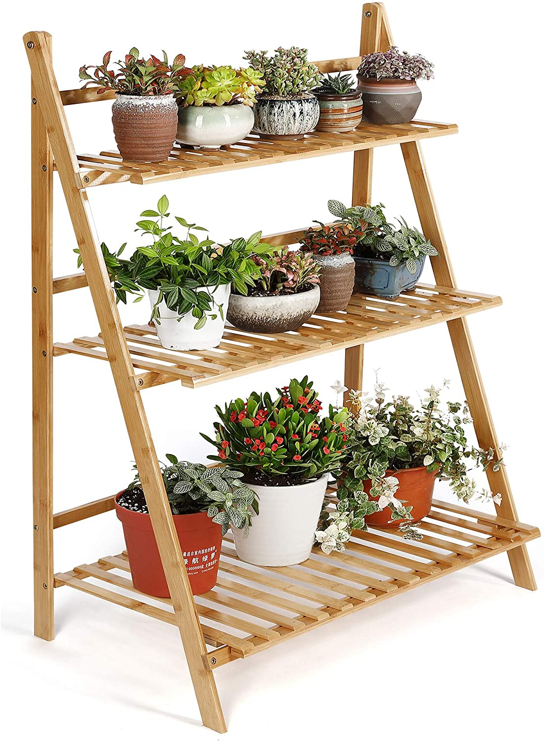 HYNAWIN Plant Stand 3 Tier Bamboo Flower Display Shelf Pot Display Storage Rack for Indoor Outdoor Home Patio Lawn Garden Balcony Organizer Planter Holder