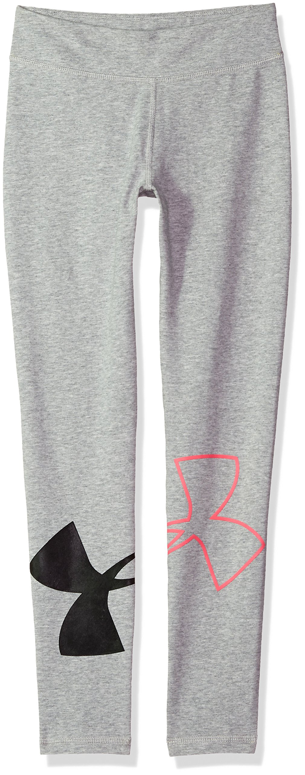 Under Armour Girls' Favorite Knit Leggings, True Gray Heather (025)/Penta Pink, Youth Large by Under Armour (Image #1)