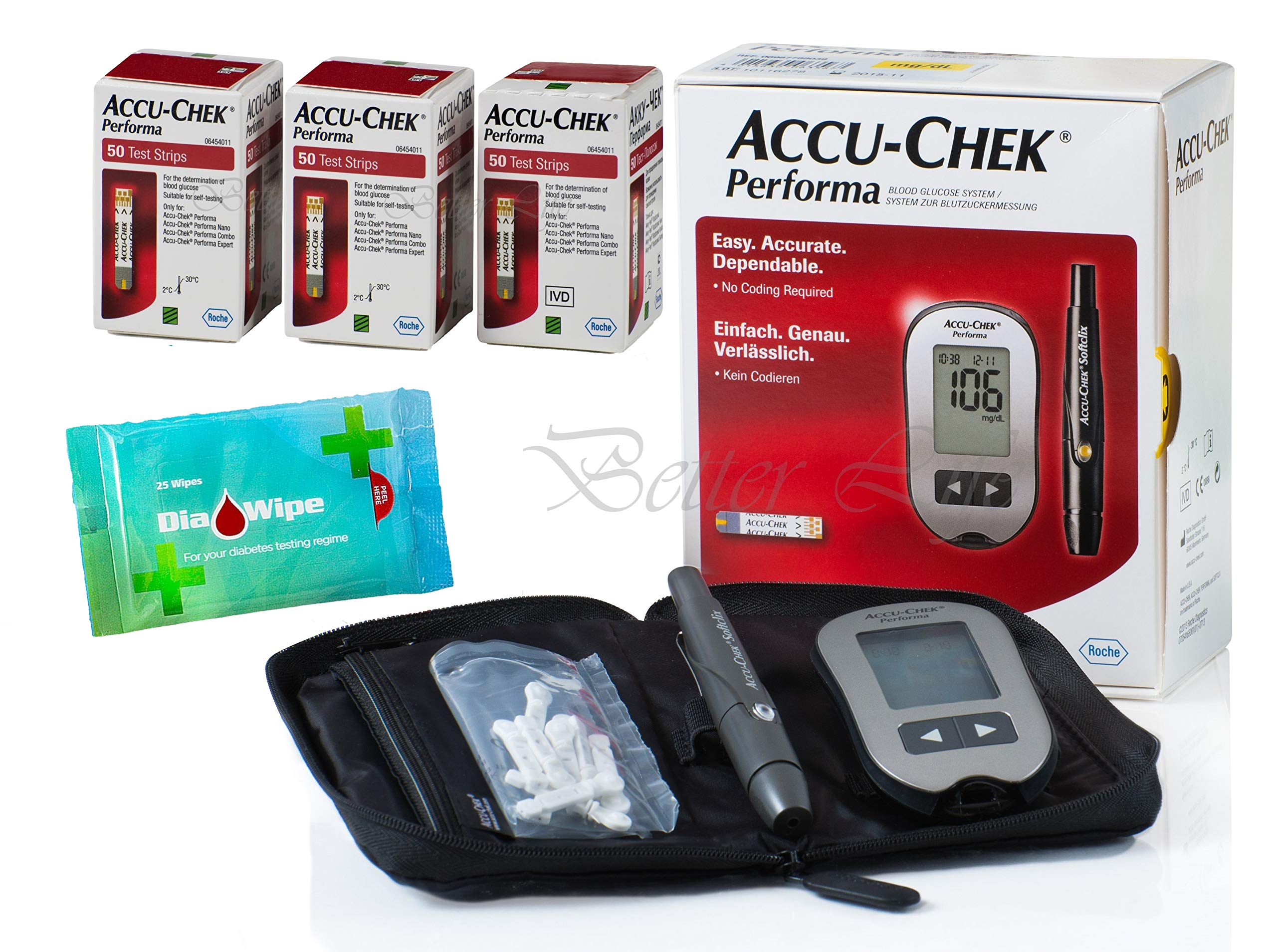 Roche 150 Test Strips Accu-Chek Performa Long Expiration Dates Bundle Glucometer Tester Monitor Kit + Accuchek Softclix + 10 Accu-Check Lancets + Diabetes DiaWipes Finger Accurate Blood Level Results