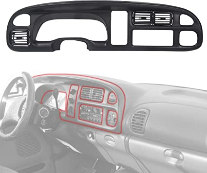 7BLACKSMITHS Dash Board Bezel with Vents Fit for 1998 1999 2000 2001 2002 Dodge Ram 1500 2500 3500 Panel Instrument Bezel