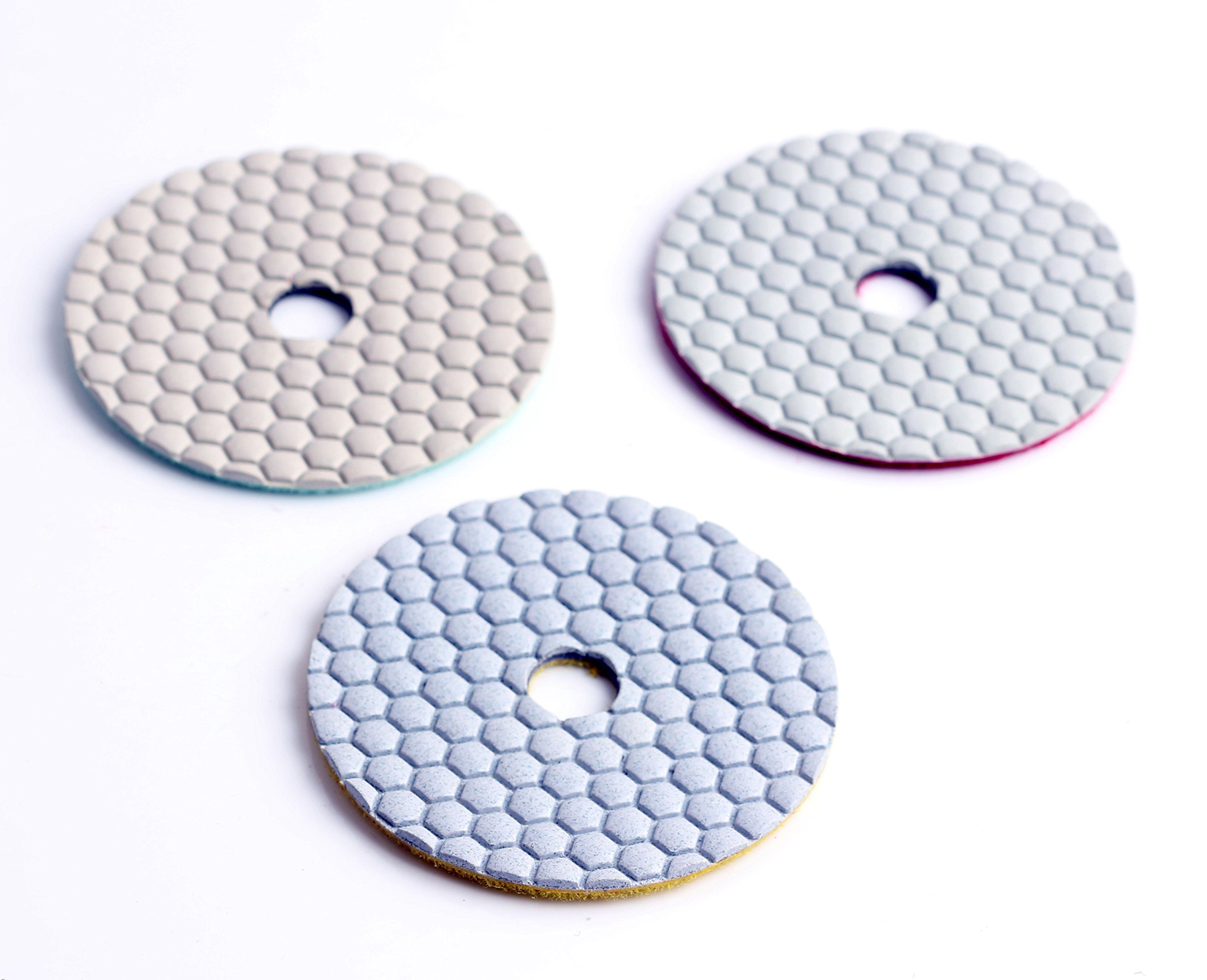 4 Inch Dry Flexible 3 Step Polishing Pad for Stone Marble and Granite -3 Pc Grit 1# 2# 3#