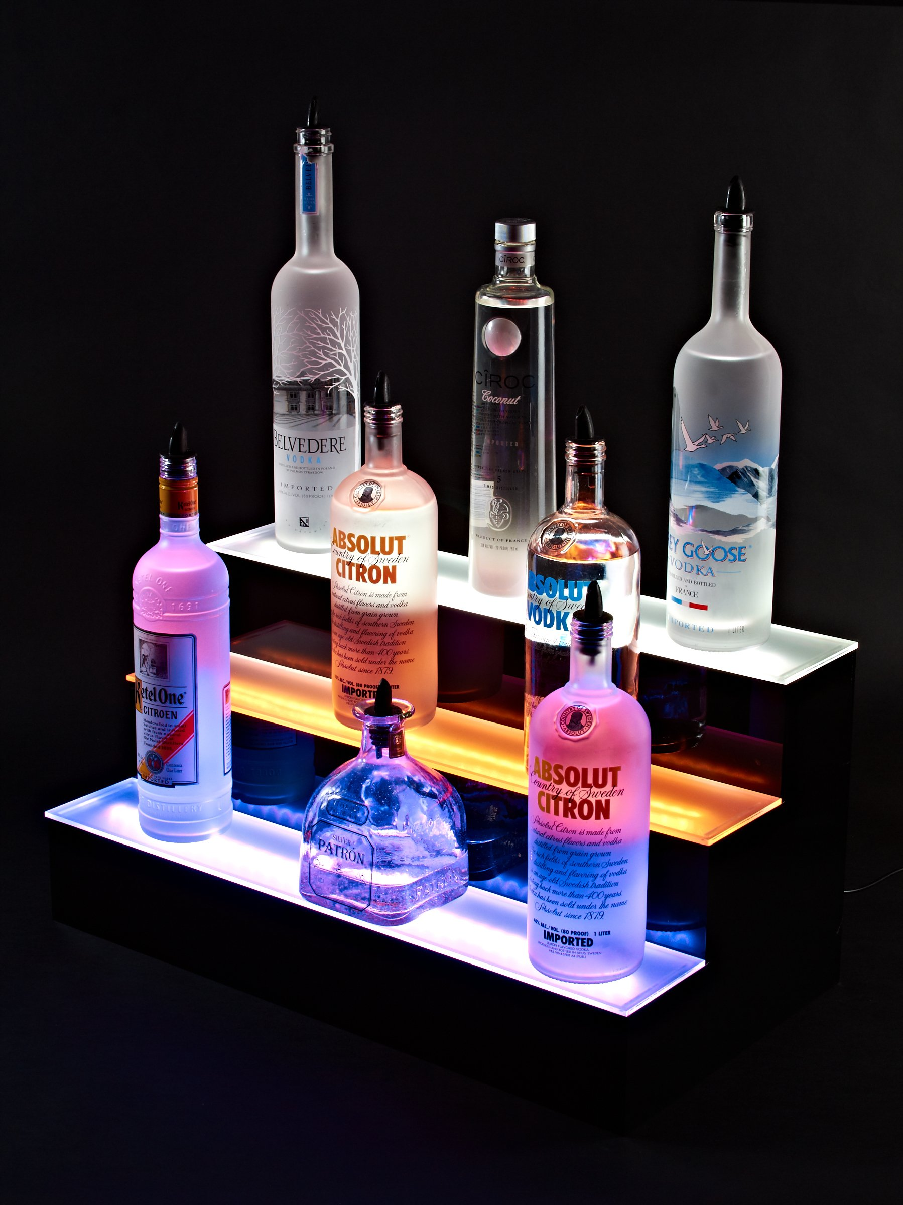 24'' inch 3 Tier Lighted Liquor Shelves Bottle Display LED |Home bar Lights by Armana Productions (Image #3)