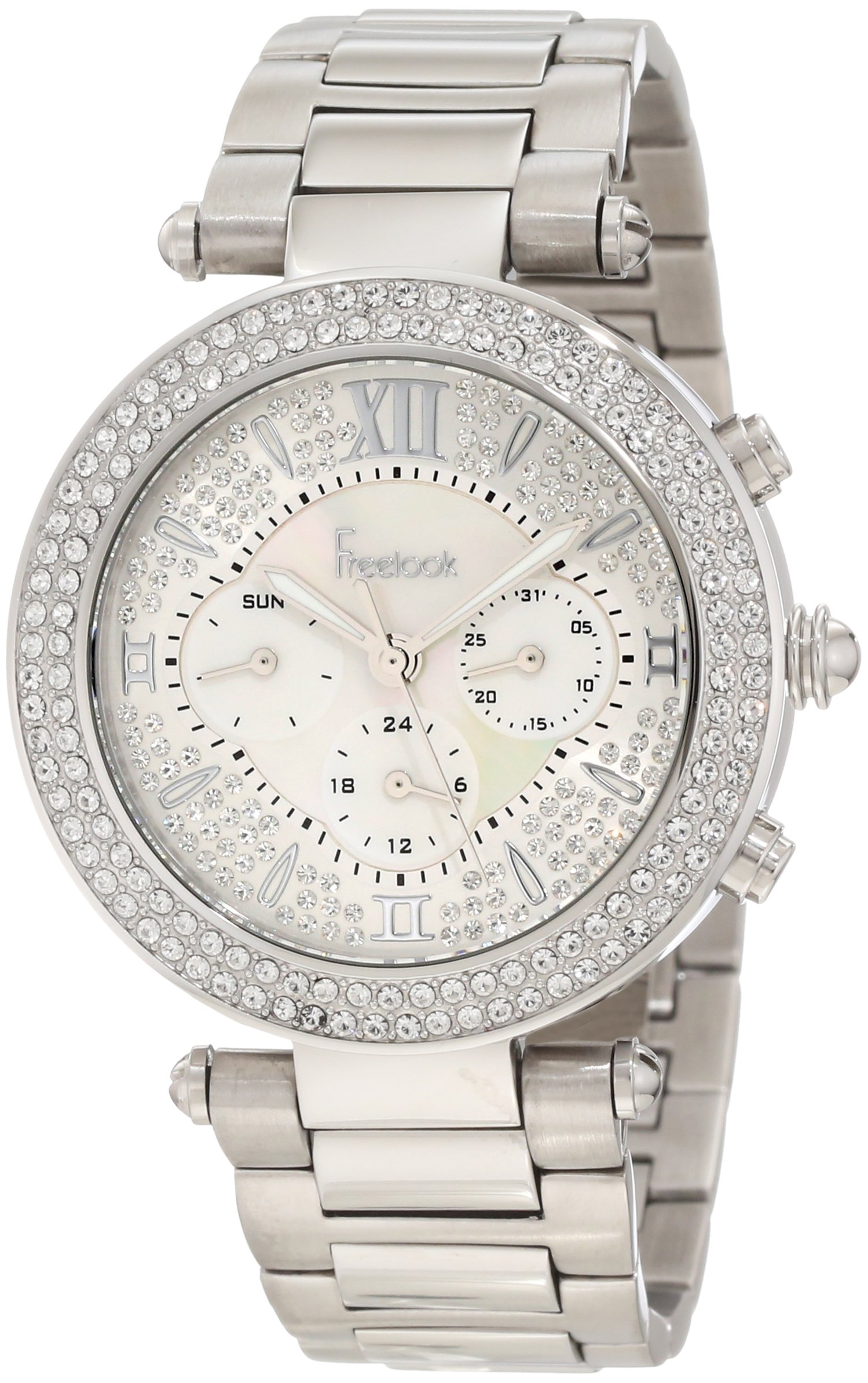 Freelook Women's HA1539-1 Full Stones Mother-Of-Pearl Chronograph Dial Silver Swarovski Bezel Watch by Freelook