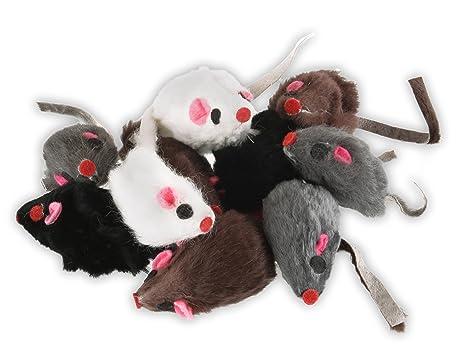 Ratón de pelo real de EBI, juguete ideal para gatos, ratones de ...