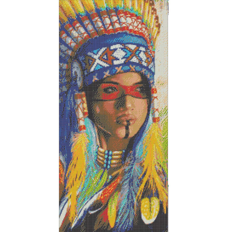 ANMUXI 5D Diamond Painting Kits Full SQUARE Drills Native American Indian Woman Blue Headband Portraits Diamond Art 30X60CM