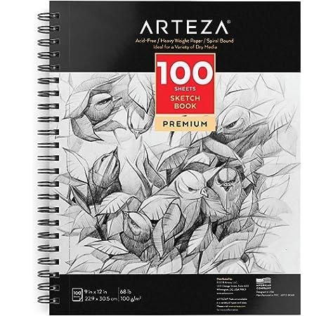 Arteza Cuadernos de dibujo de 22,9 x 30,5 cm, Pack de 2 blocs en espiral de doble anilla con 100 hojas en cada uno, Papel grueso de 100 gsm para bocetos, Sin