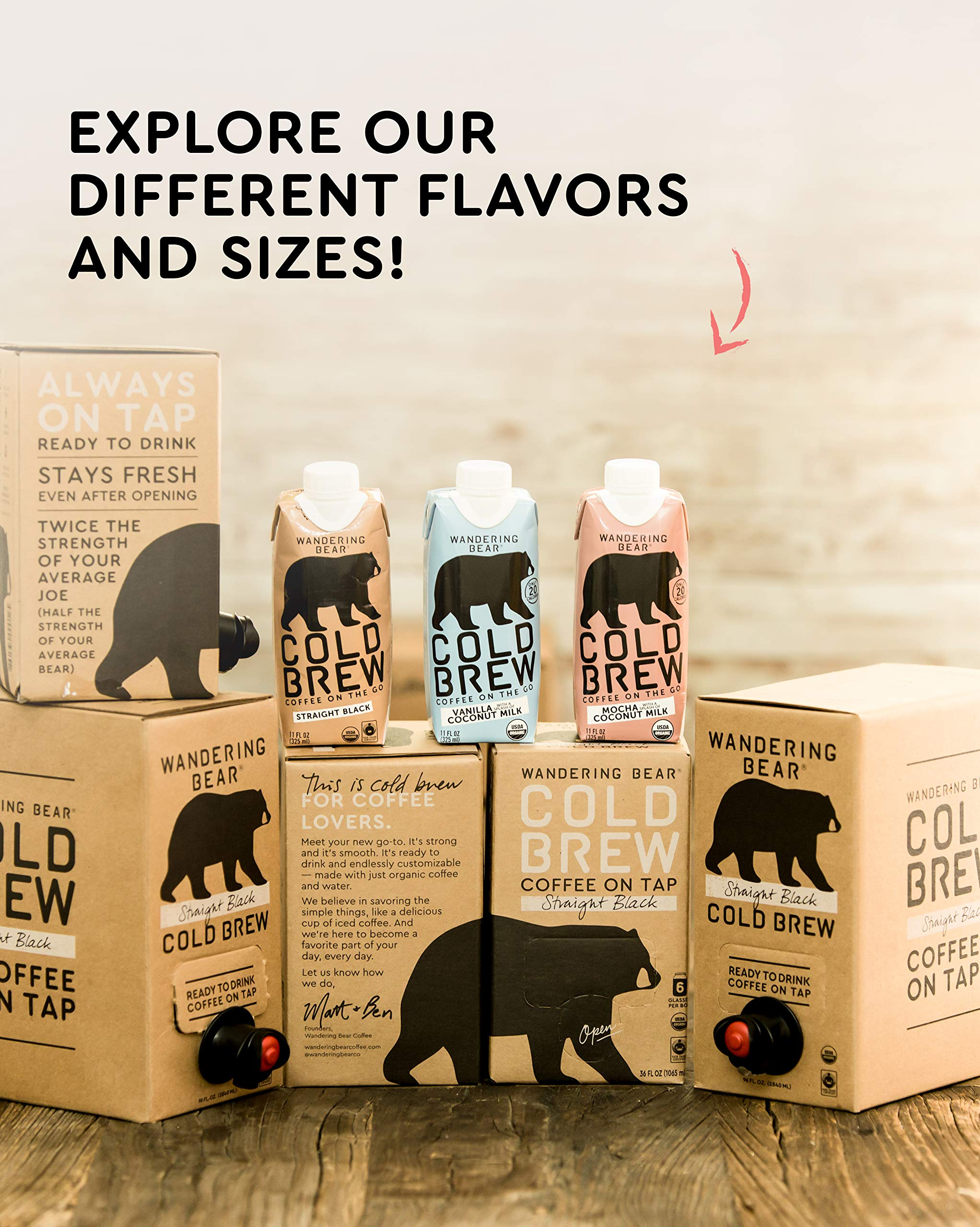 Wandering Bear Organic Cold Brew Coffee On-the-Go 11 oz Carton, Mocha With Splash of Coconut Milk, No Sugar, Ready to Drink, Not a Concentrate (Pack of 12) by Wandering Bear (Image #9)