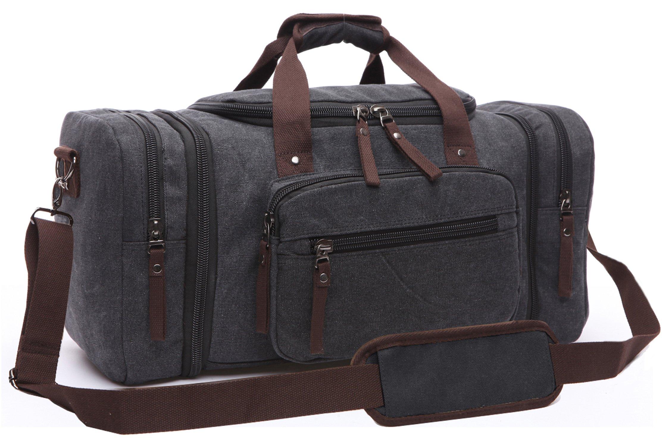 Canvas Duffel Bag, Aidonger Vintage Canvas Weekender Bag Travel Bag Sports Duffel with Shoulder Strap (Black)