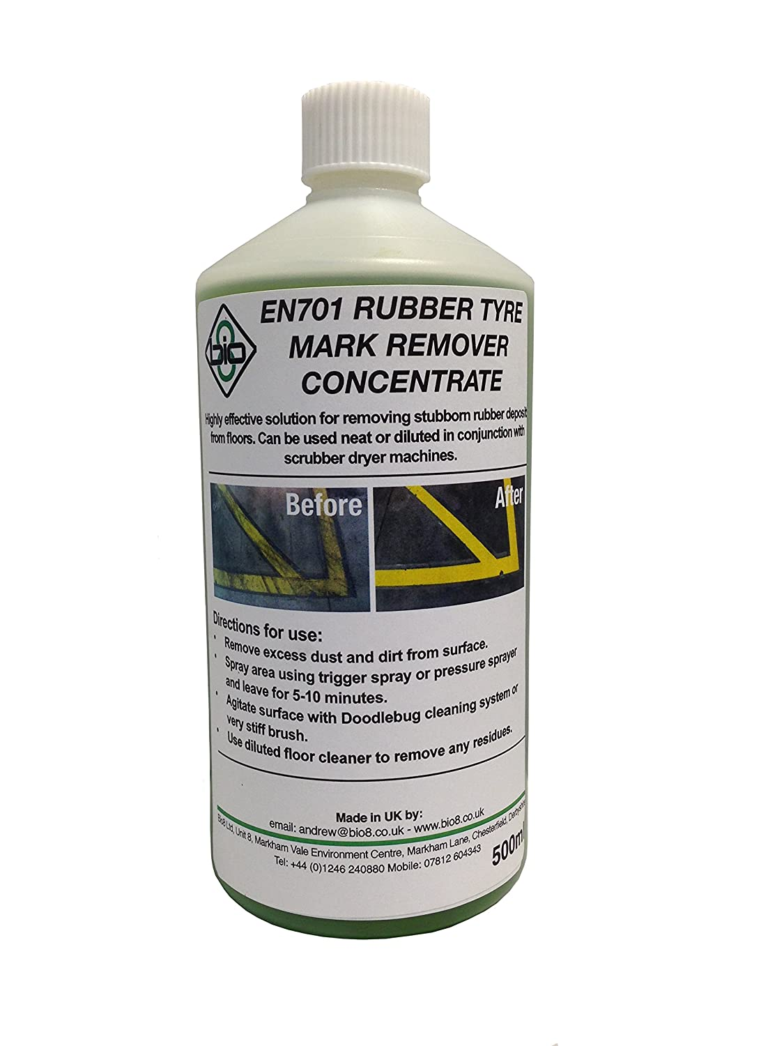 Envii Rubber Tyre Mark Remover Concentrate – Non-Corrosive Floor Cleaner Removes Fork-Lift and Other Tyre Marks – 500ml Bio8