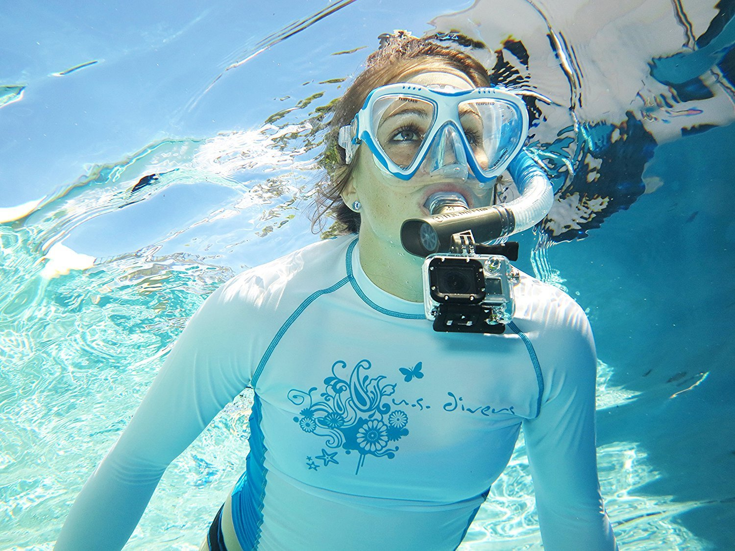 Large//X-Large Divers Lux Mask Fins Snorkel Set Compatible with GoPro U.S White