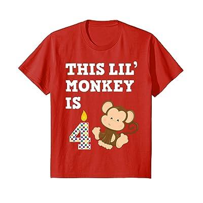 Kids Monkey Birthday Shirt 4 Year Old 4th BDay Gift