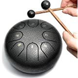 REGIS Alloy Steel Tongue Drum 8 Notes 6 Inches Chakra Tank Drum Steel Percussion Padded Travel Bag and Mallets (Silver & blac