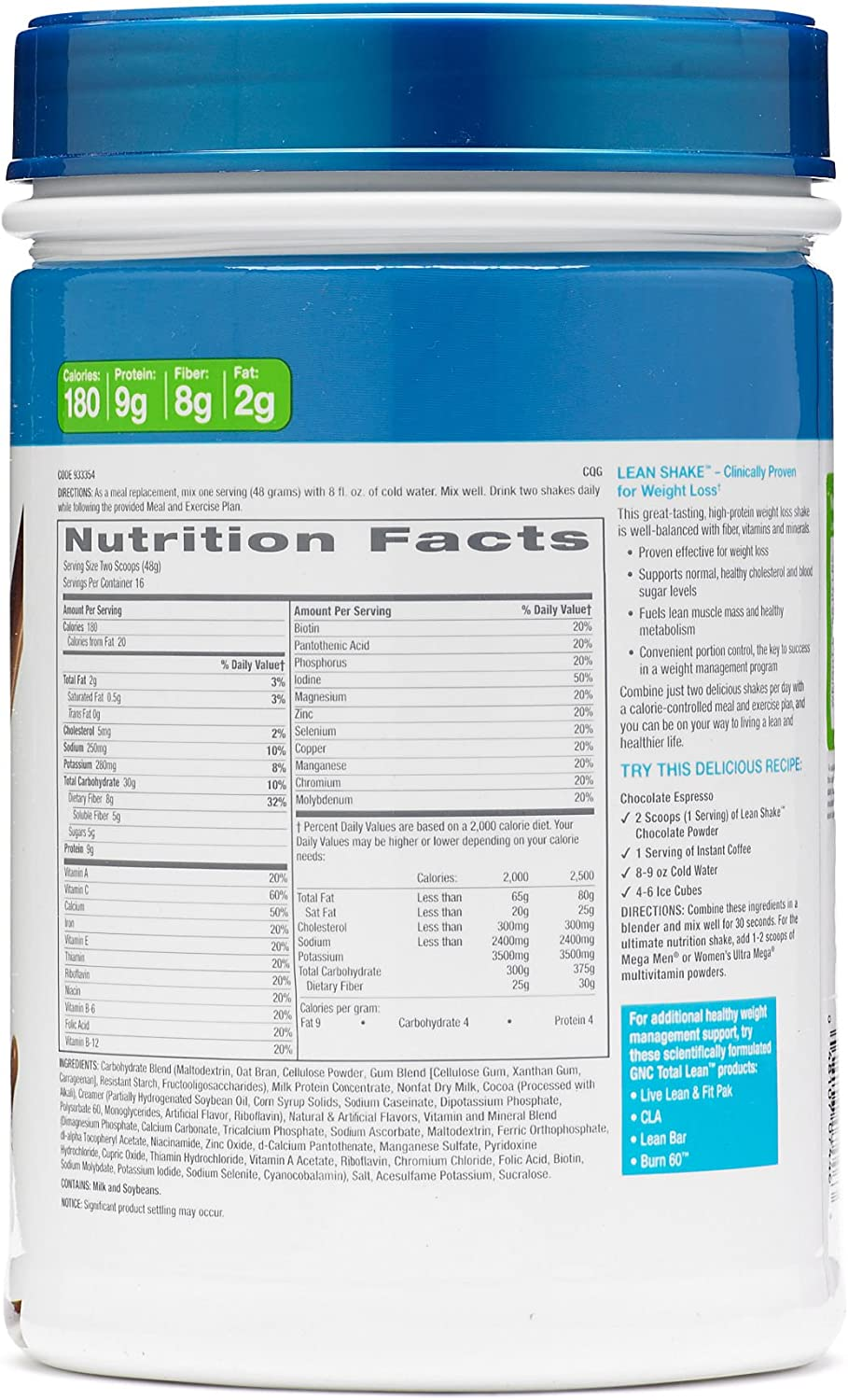 Gnc Total Lean Shake, Swiss Chocolate, 1.7 Pounds by GNC ...