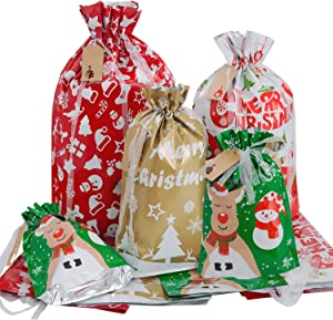 Christmas Gift Bags Assorted Sizes, Christmas Wrapping Bags with Drawstring Tags Holiday Gift Bags for Presents Medium Large Gift Bags Bulk Christmas Bags for Gifts With Drawstrings