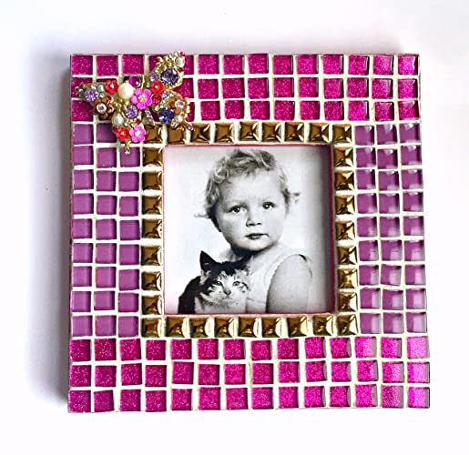 Amazon.com: Butterfly Mosaic Frame, Hot Pink Butterfly Frame, Mosaic ...
