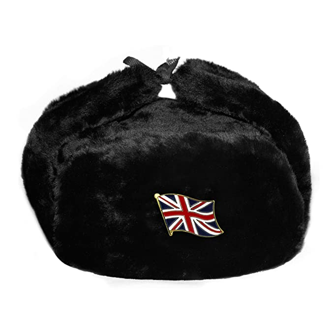 BLACK RUSSIAN TRAPPER HAT WITH SOVIET BADGE FAUX FUR USHANKA COSSACK FLAPS