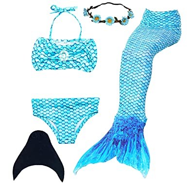 53089c65ec UrbanDesign Mermaid Tail with Monofin for Swimming Mermaid Costume Child  for Girls: Amazon.co.uk: Clothing