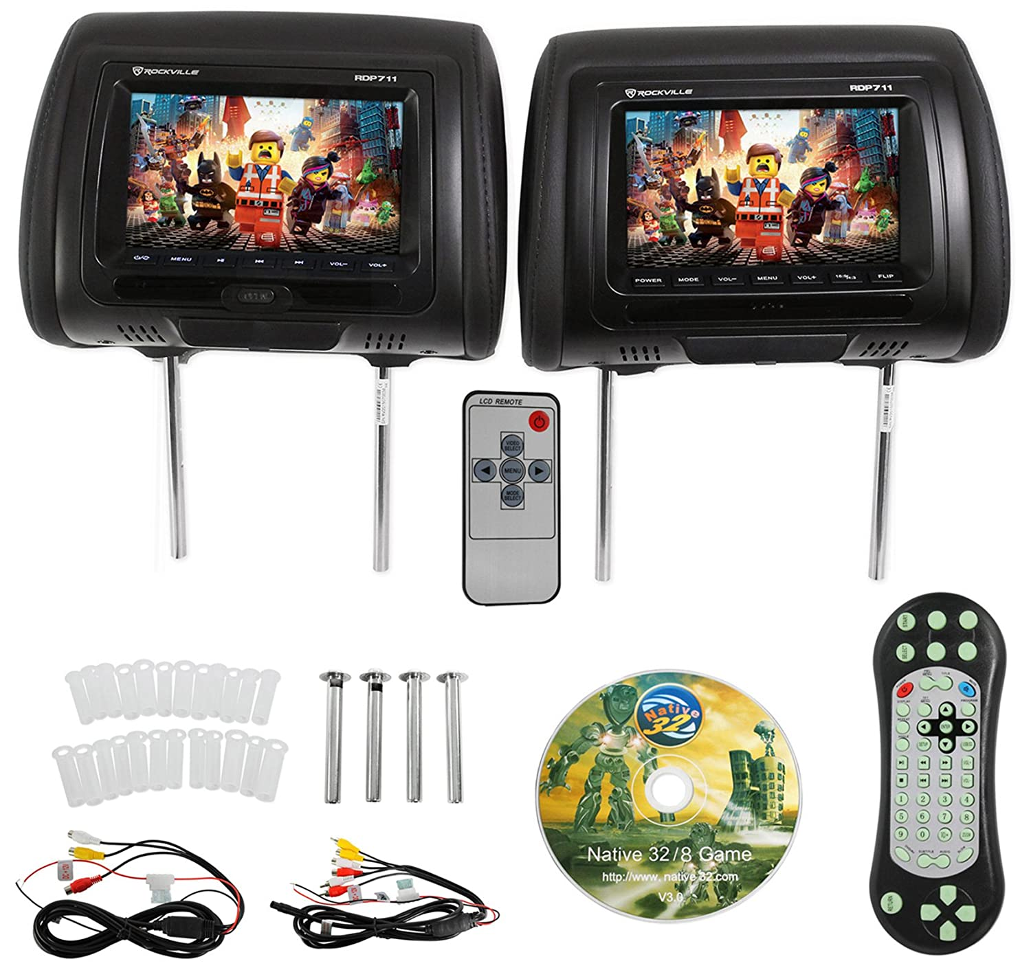 Rockville Rdp711 Bk 7 Black Car Headrest Monitors W Dvd 2010 Chevy Malibu Wiring Diagram Player Usb Hdmi Games Cell Phones Accessories