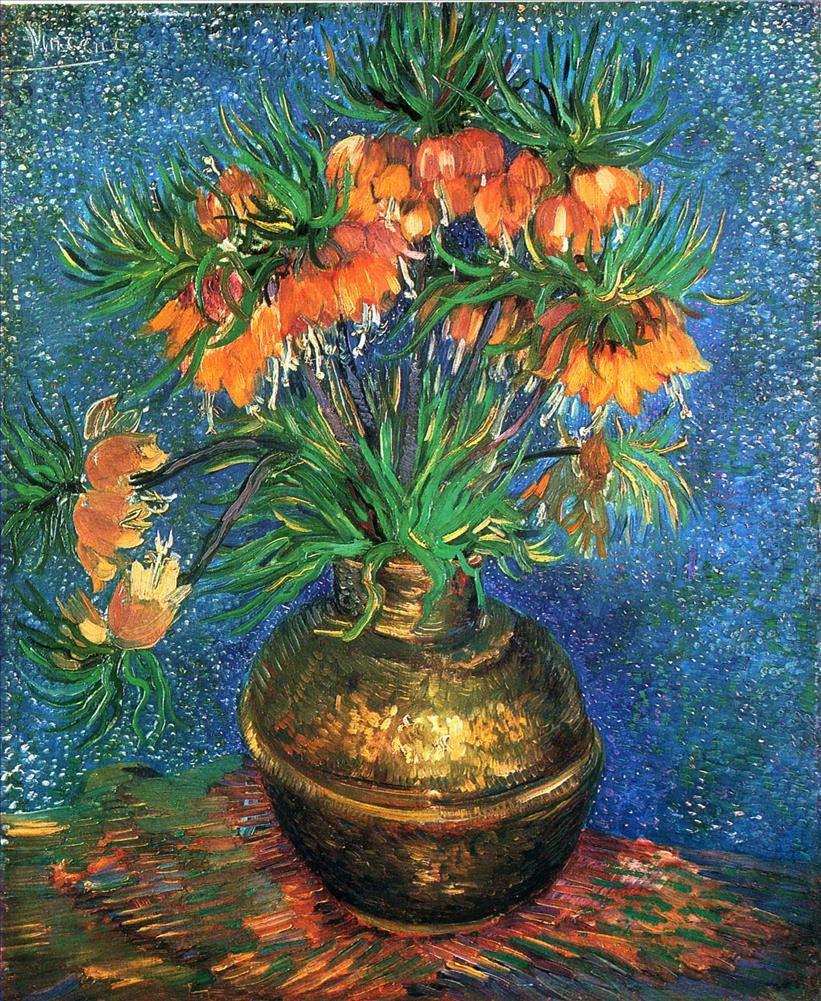 手描き-キャンバスの油絵 - Fritillaries in a Copper Vase フィンセントファンゴッホ 芸術 作品 洋画 ウォールアートデコレーション VVG3 -サイズ15 B07H7MPJBG  48 x 72 インチ