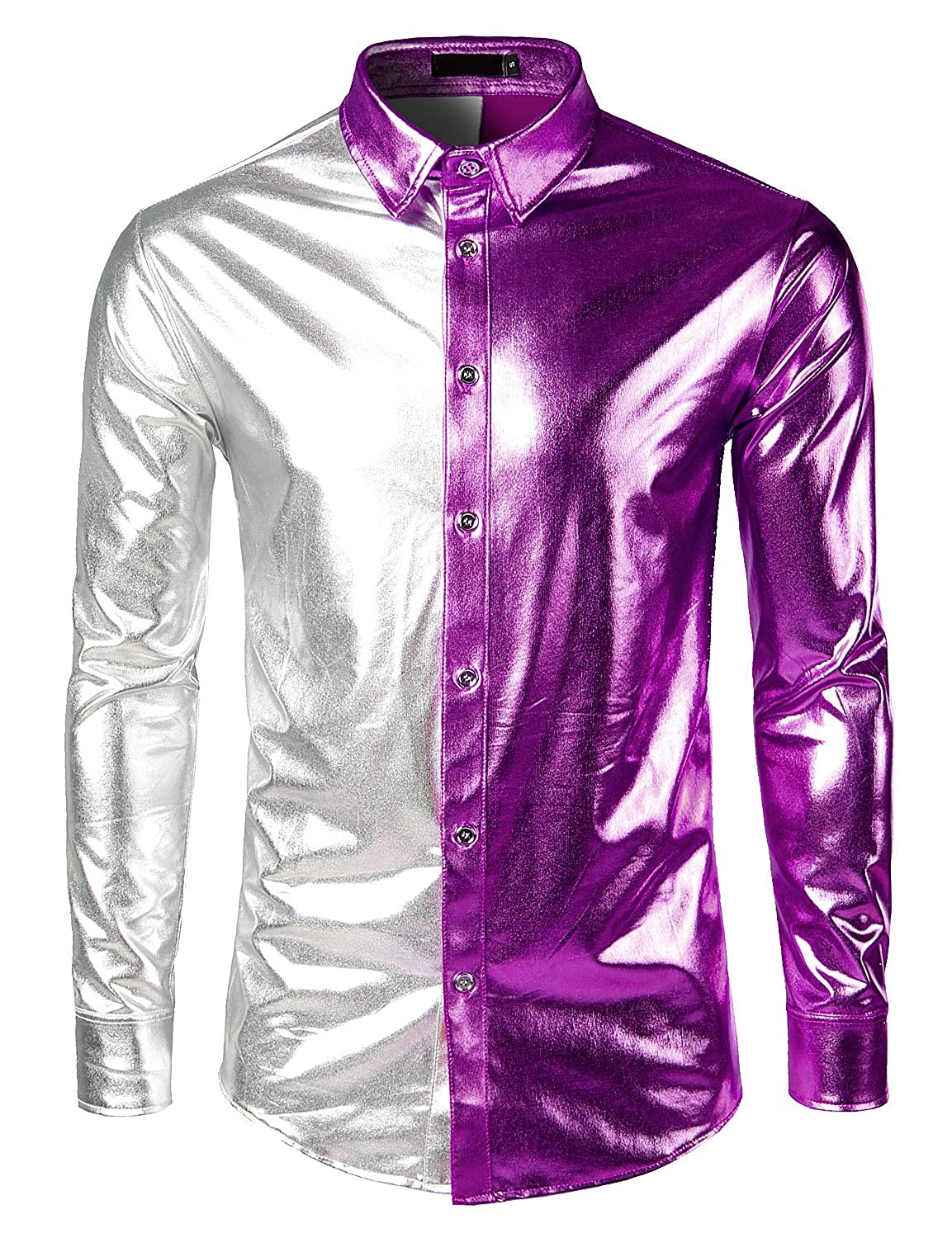 MADA Mens Metallic Shiny Nightclub Slim Fit Long Sleeve Button Down Party Shirts Tops Costume