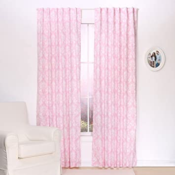 Pink Damask Print Window Drapery Panels - Set of Two 84 by 42 Inch Panels