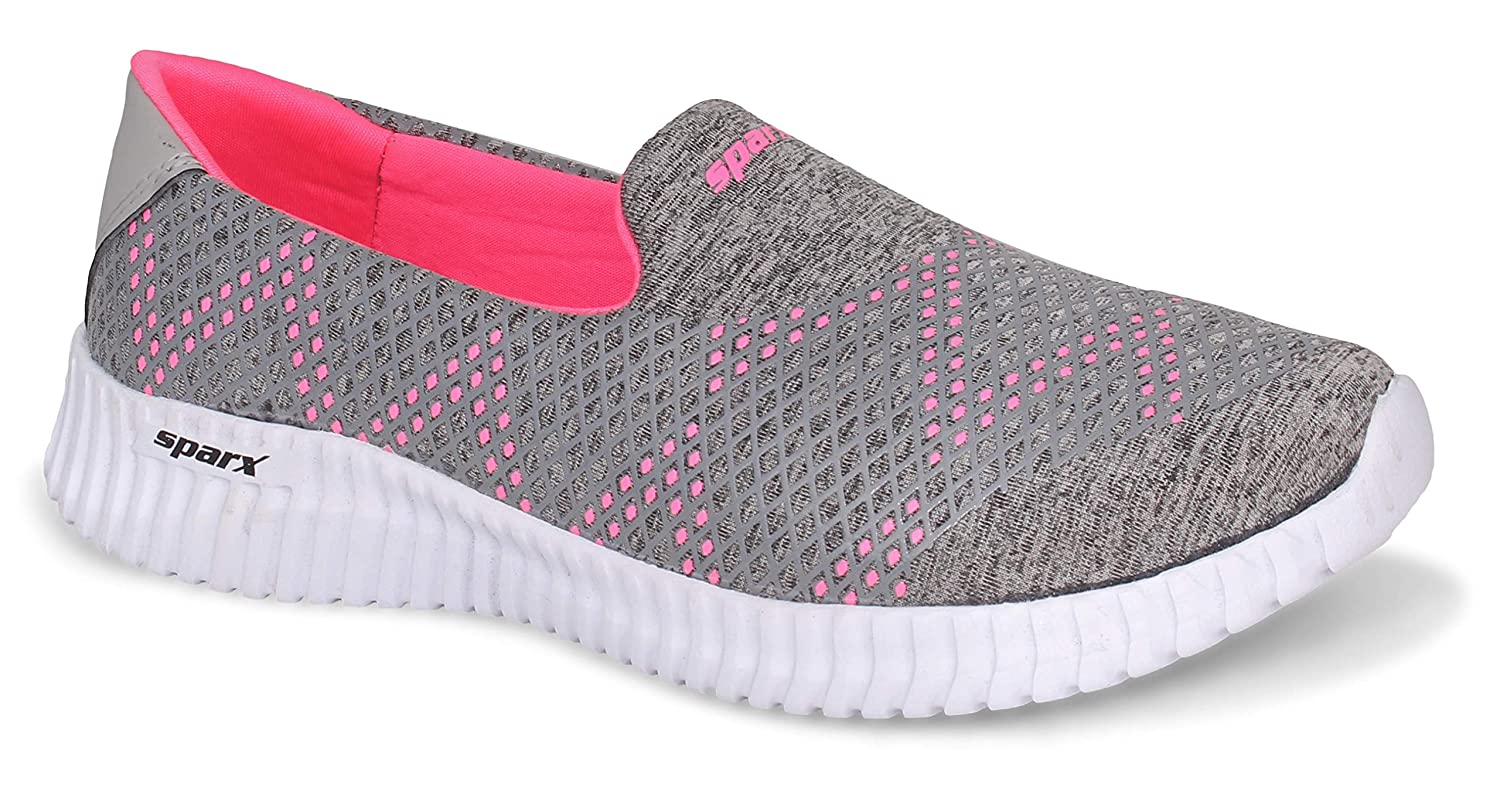 Sparx Women's Grey Pink Loafers-6 UK