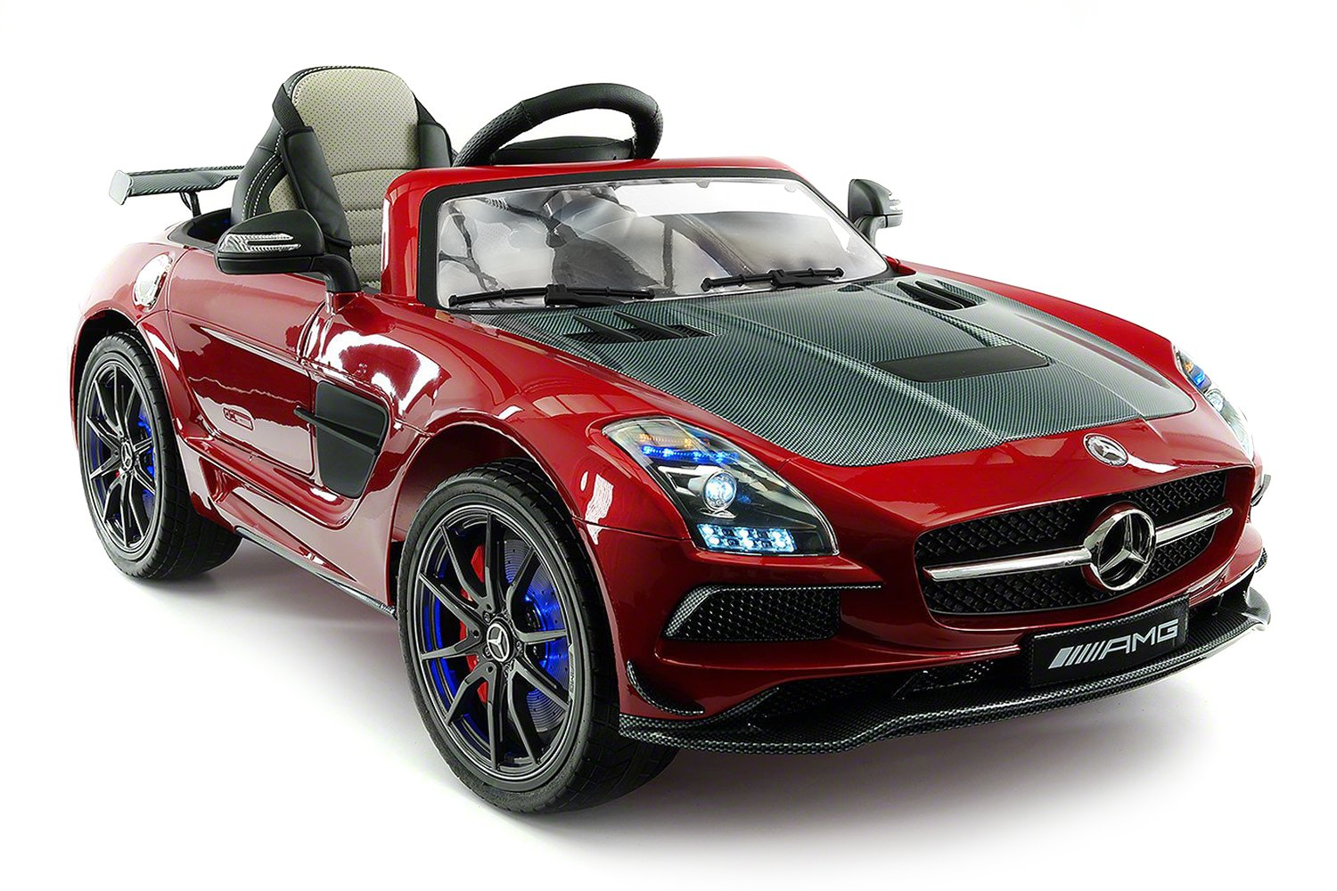 Carbon Red Sls Amg Mercedes Benz Car For Kids 12v Mercedesbenz Genuine Engine Wiring Harness 2711502933 Powered Ride On Leather Seat Led Lights Parental Remote Built In Lcd Touch