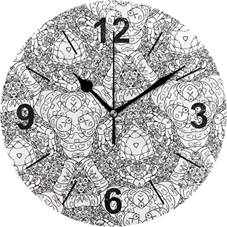 Amazon.com: VVIEER Non Ticking Wall Clock Round Home Decor Mandala Calming Coloring  Page Printable Printing Silent Easy To Hang 10 Inch Creative: Home & Kitchen
