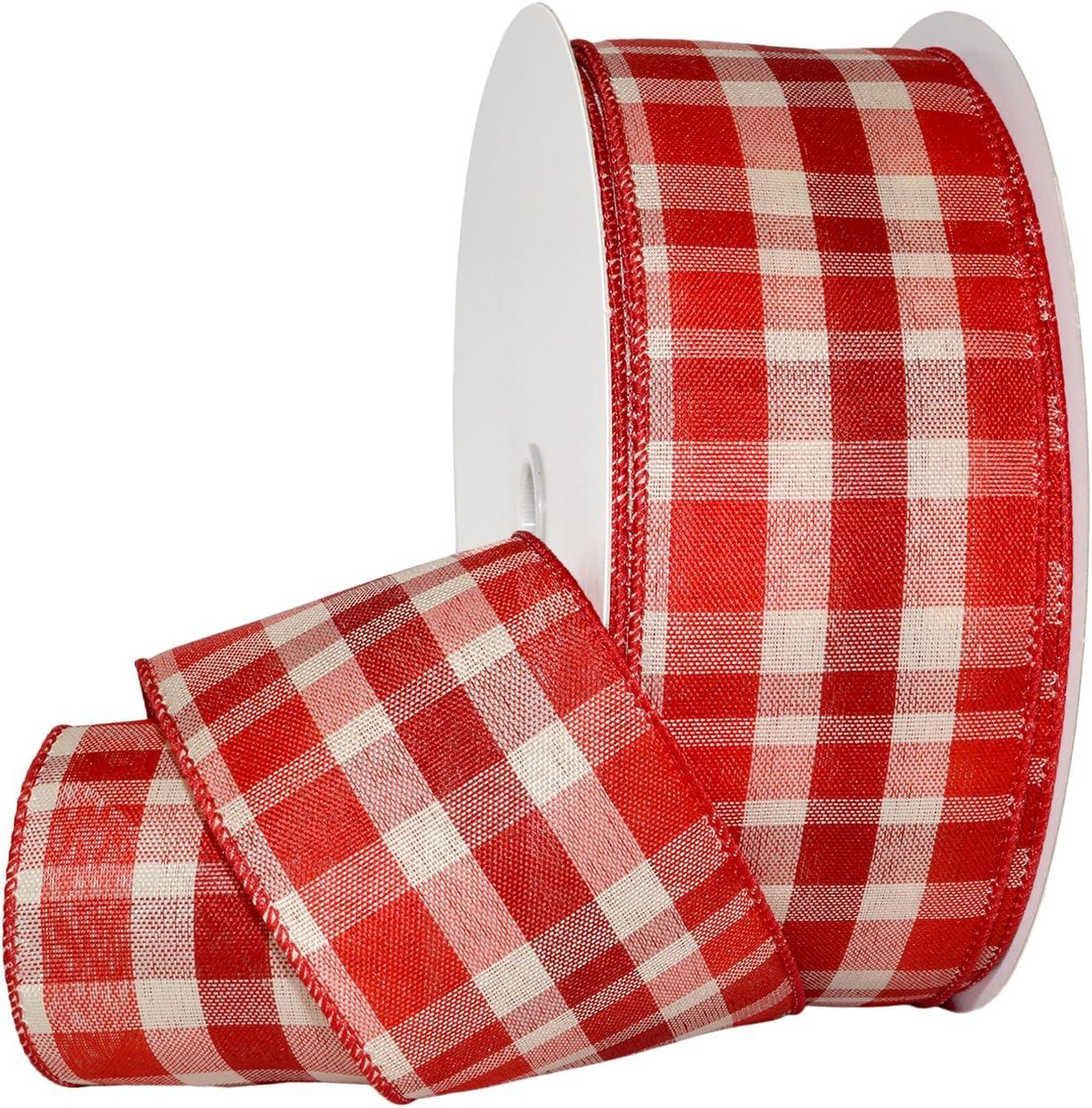 2-1//2 inches by 50 Yard Morex Ribbon Splendor Wired Nylon Ribbon Red