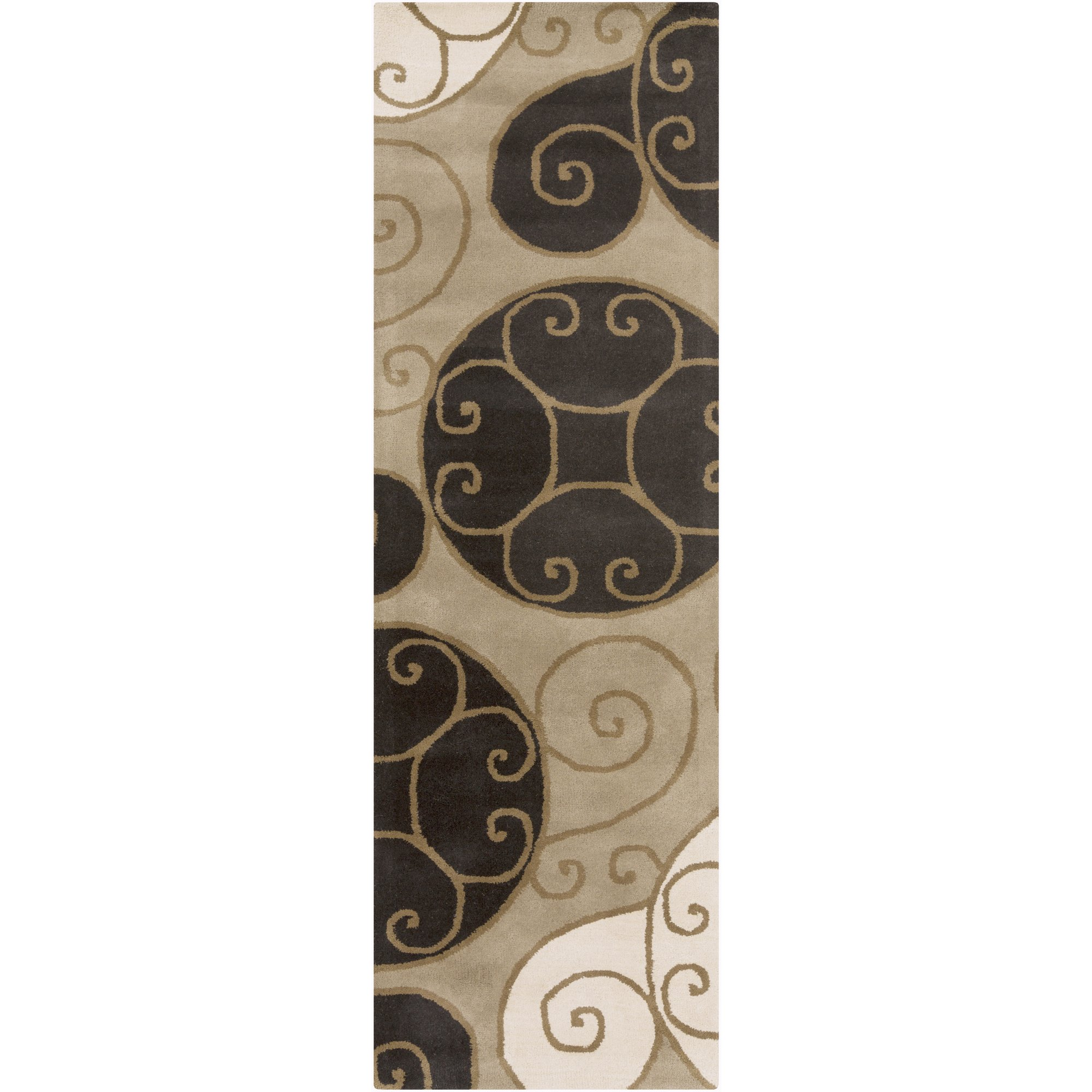 Surya Athena ATH-5111 Contemporary Hand Tufted 100% Wool Brindle 2'6'' x 8' Geometric Runner
