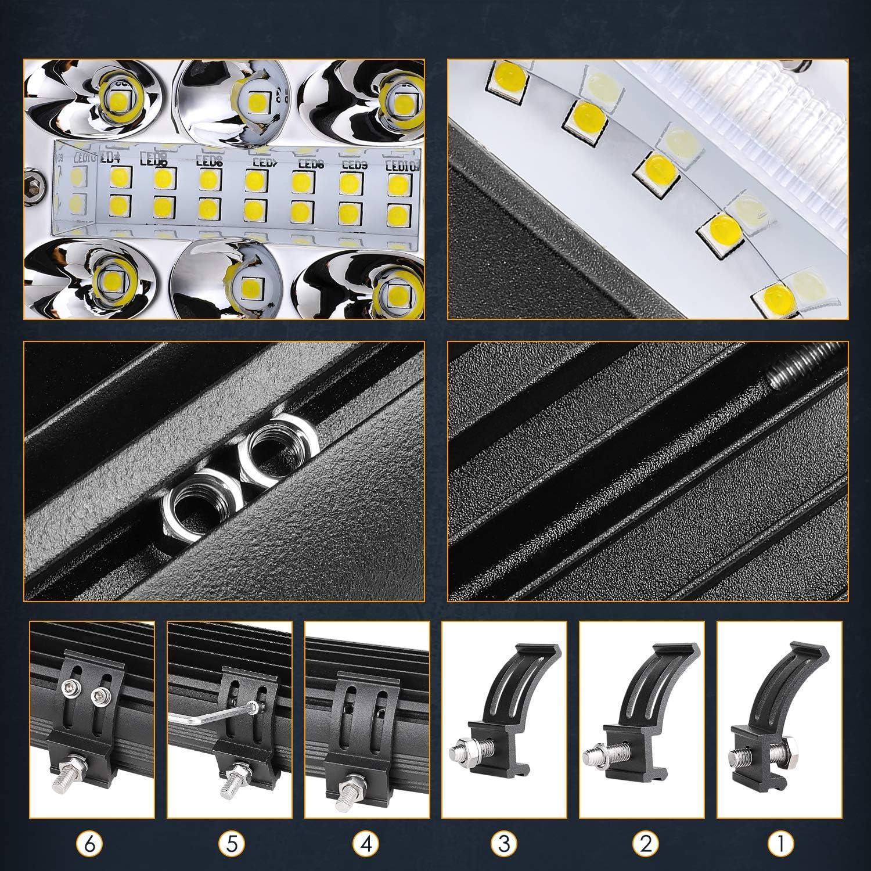 Nirider 2PCS 120W CREE 4 Inch LED Light Bars Off Road Light Pods 12V LED Work Lights Flood Spot Combo Driving Lights Square Fog Lights for Trucks Jeep Car ATV UTV Tractor Boat Side Shooter LED Pods