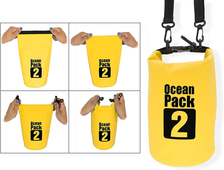 Dry Bag Certifi/é Waterproof Imperm/éable Orange MyGadget Sac Etanche 2L pour Sport Nautique Voile Cano/ë Kayak Rafting Plong/ée