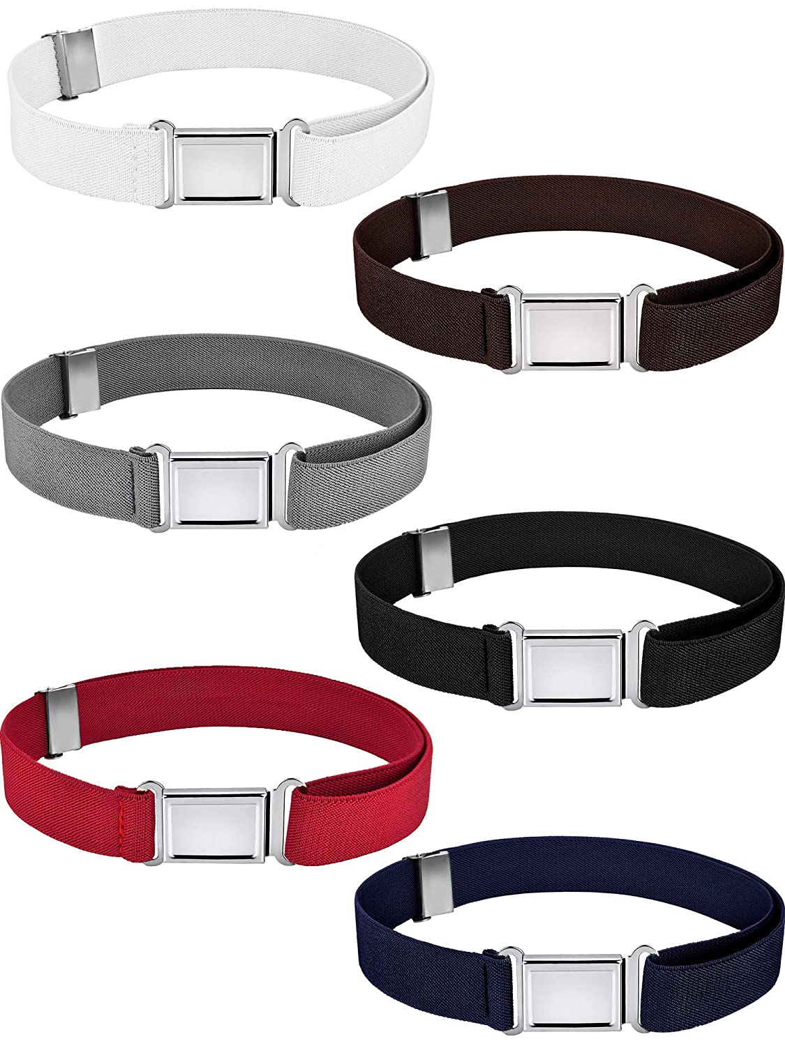 Gejoy 6 Pieces Kids Belt Adjustable Belt Stretchy Belt with Magnetic Buckle for Kids Supplies, Assorted Colors