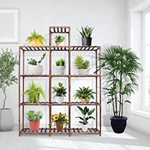 Plant Stands Indoor Plant Shelves AIKUPNEY 59-Inch Tall Wooden Garden Rack Large Multi Tier Flower Display Stand for Living Room Balcony Patio