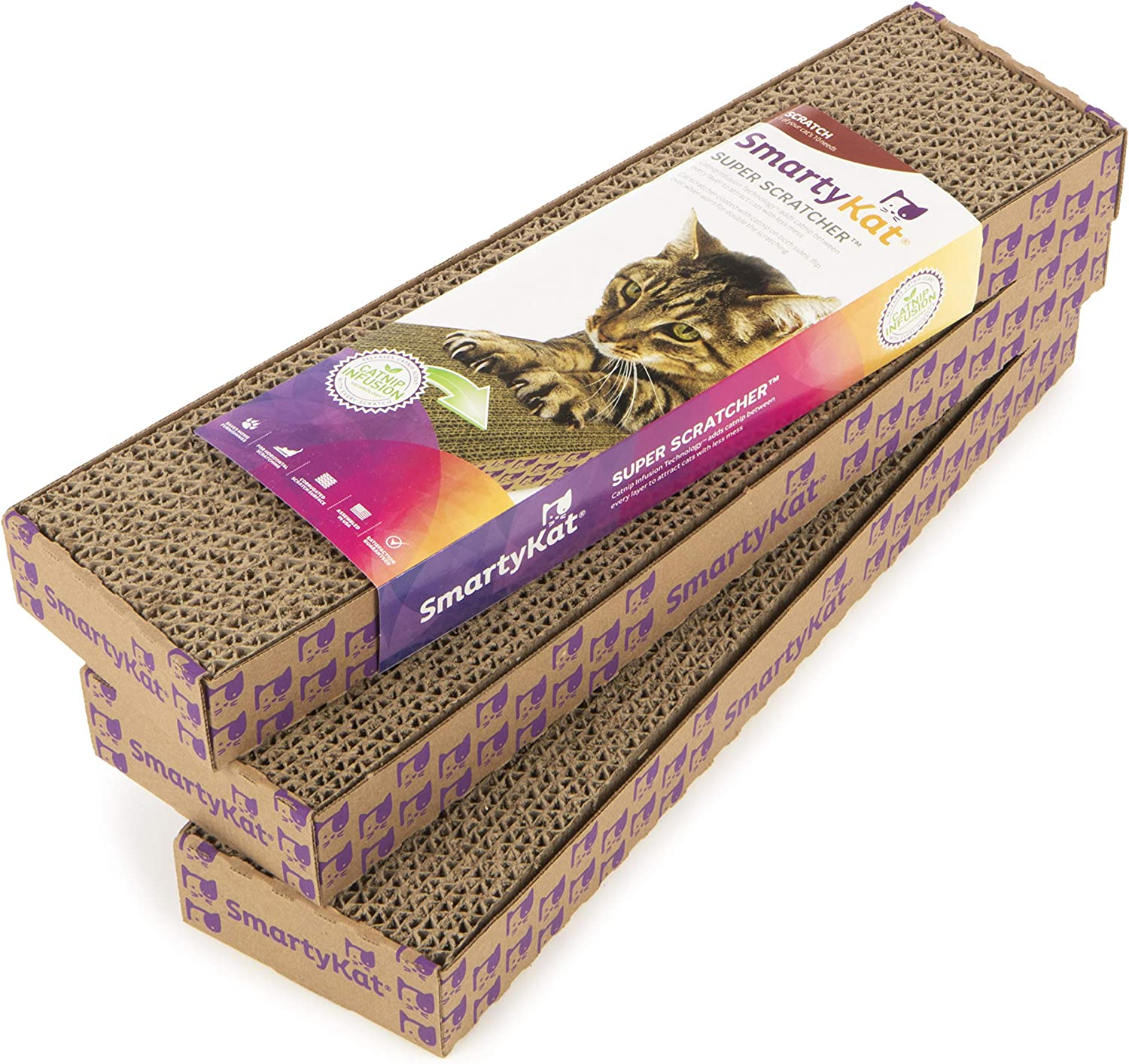 SmartyKat Made in The USA Corrugate Cat Scratchers with Catnip Infused Technology