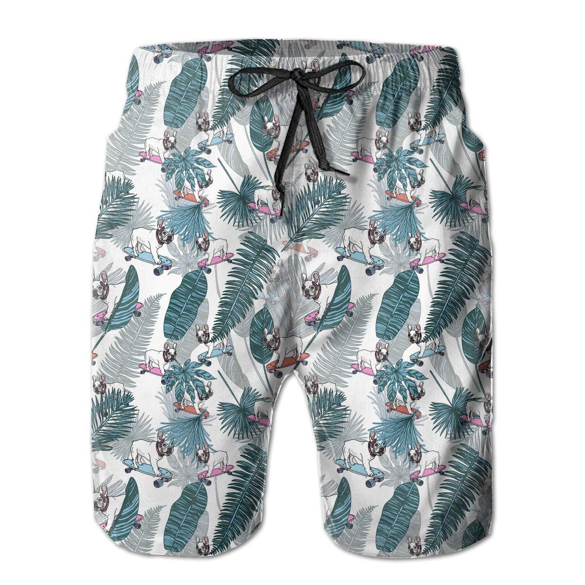UHT28DG French Bulldog Tropical Leaves Pattern Mens Boardshorts Drawstring Swim Trunks