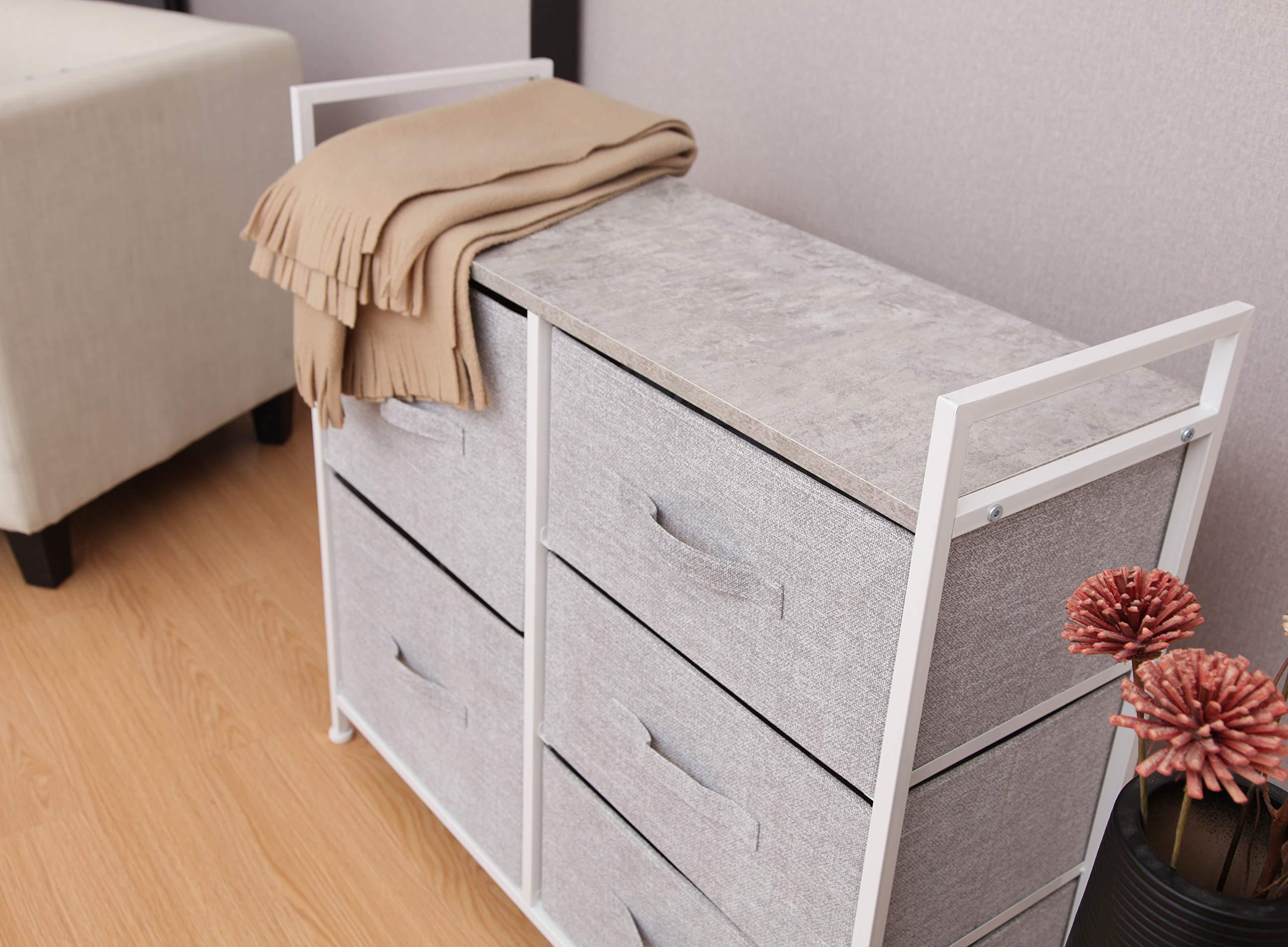 East Loft Storage Cube Dresser | Organizer for Closet, Nursery, Bathroom, Laundry or Bedroom | 5 Fabric Drawers, Solid Wood Top, Durable Steel Frame | Light Grey by East Loft