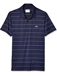 616c27e4 Lacoste Mens Sport Short Sleeve Semi Fancy Ultra Dry Stretch Striped Polo  Polo Shirt