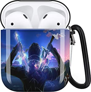 Sword Art Online AirPods Case Personalize Custom, AirPods Case Cover Compatible with Apple AirPods 1st/2nd,Full Protective Durable Shockproof Drop Proof with Key Chain Compatible