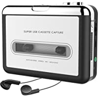USB Cassette Player, 2019 Upgraded Cassette Tape to MP3 Converter Retro Walkman Audio Tape Capture to MP3 for Mac PC Laptop, Sliver