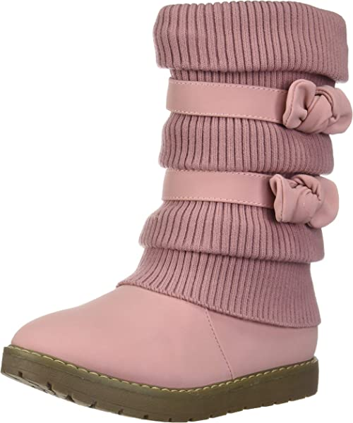 96765590cc98 DREAM PAIRS Little Kid Klove Pink Faux Fur Lined Mid Calf Winter Snow Boots  Size 1