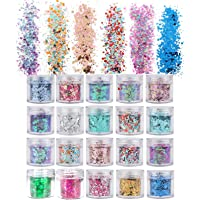 20 Boxes Holographic Cosmetic Festival Chunky Glitters Sequins, Nail Sequins Iridescent Flakes, Cosmetic Paillette Ultra…