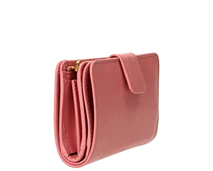 9b1073543c3287 Prada Women's Saffiano Leather Wallet Pink at Amazon Women's Clothing store: