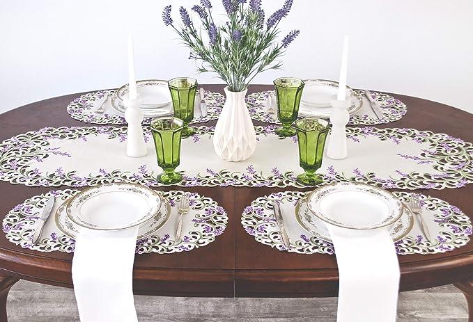 30 x 45 cm a elegir el tama/ño de Camino de mesa de pensamiento//de colour p/úrpura de mantel de colour crema-blanco//de colour morado con dise/ño de flores de bordado poli/éster