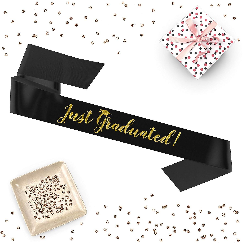 Graduation hat sash luxurious satin gold glitter for graduation day photo prop 1 piece Just Graduated