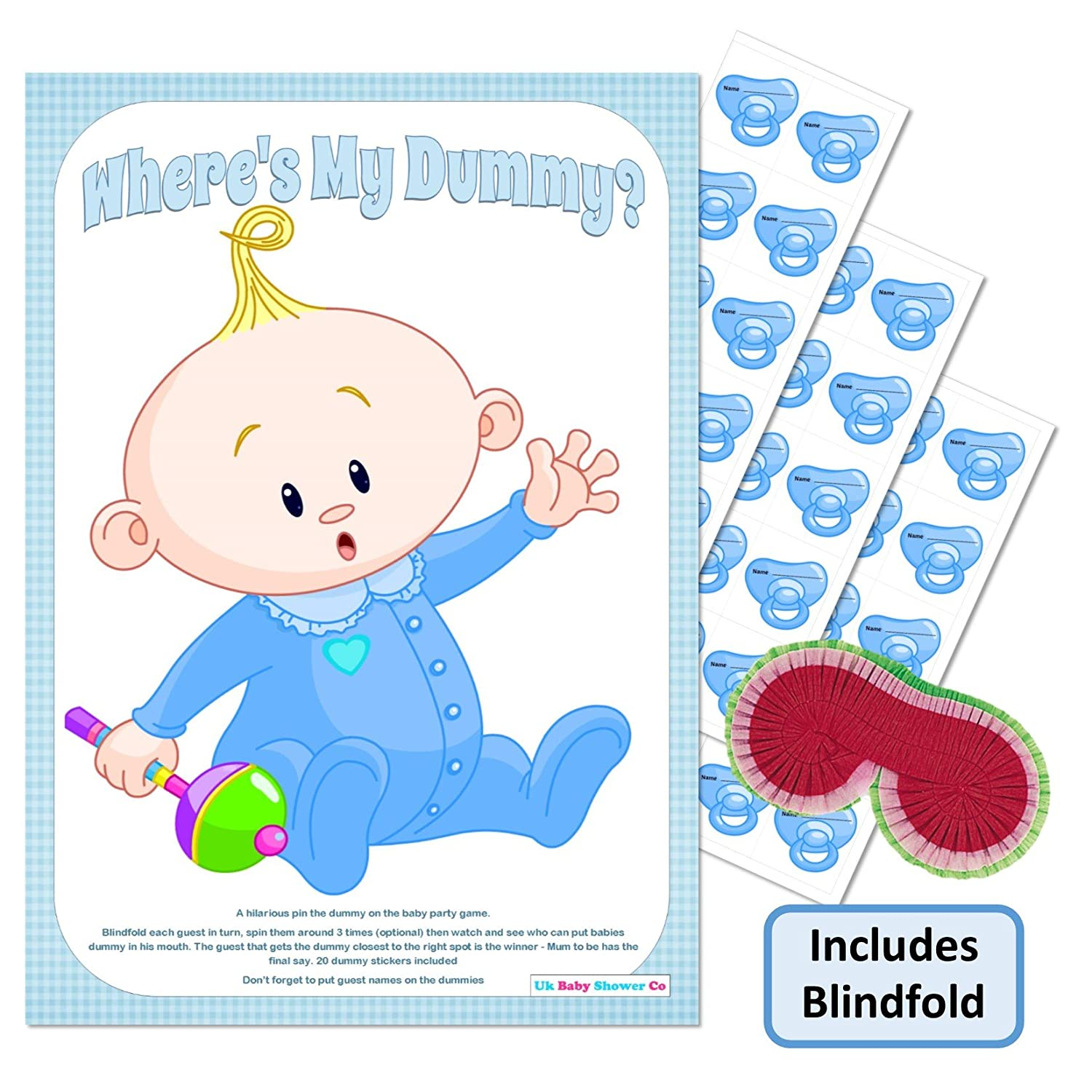 Baby Shower Party Game 40 Player Blue Boy Pin the Dummy on the Baby