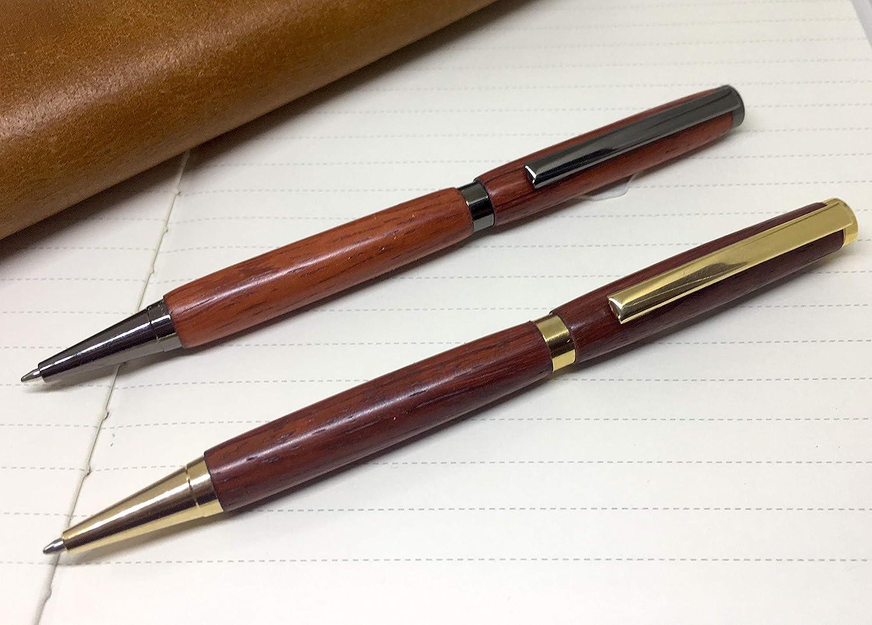 Possibilit/à di incidere la penna. Penna a sfera in legno di Padouk unico prodotto a mano in Francia
