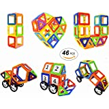 Magnetic Blocks STEM Educational Toys Magnetic Blocks with Wheels Tiles Set for Boys and Girls by Coodoo-46pcs
