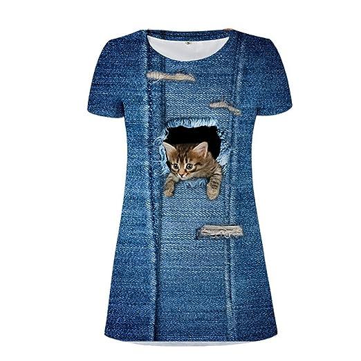 BCVHGD Summer Women 3d Denim Cat Print Dresses Girls Vintage Dress Mini Tunic Vestidos XQC3301CW XS
